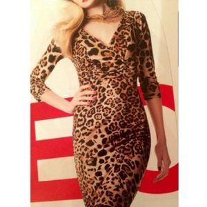 David Meister leopard print faux wrap Jersey dress